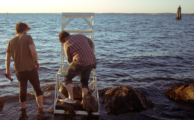 A sculpture by Jacques Vidal, Summer Fellow 2012, takes shape in the Fishers Island Sound