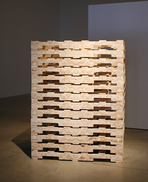 """The Vagireh Pattern"", Laser-etched wooden shipping pallets, 62""x48""x40"", 2010"
